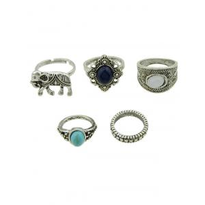 5 PCS Bohemia Elephant Faux Gem Rings - Argent