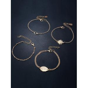 4PCS Sun Leaf Bracelets - Or