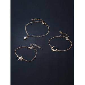 3 PCS Star Moon Bracelets - Or