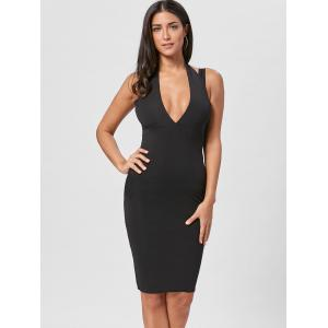 Open Back Plunging Neck Sheath Dress - BLACK XL