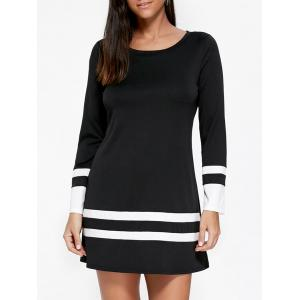 Long Sleeve Two Tone Tee Dress
