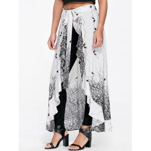 Monochrome Flounced Skirt Pants - White And Black - 2xl