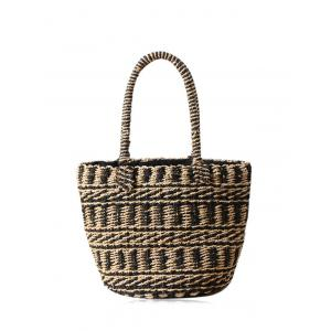 Straw Color Block String Tote Bag