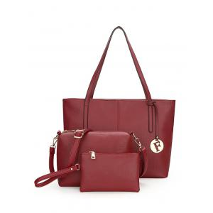 Faux Leather 3 Pieces Shoulder Bag Set - Wine Red
