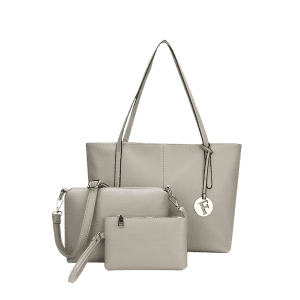 Ensemble de sac en bandoulière Faux Leather 3 Pieces - Gris