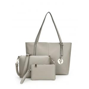 Faux Leather 3 Pieces Shoulder Bag Set - Gray