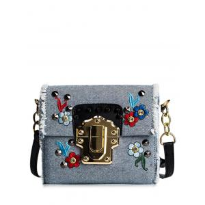 Denim Rivets Embroidered Crossbody Bag - Blue