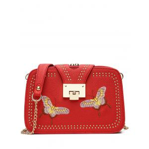 Embroidery Studded Chain Crossbody Bag - Red - Horizontal