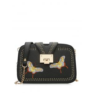 Embroidery Studded Chain Crossbody Bag - Black