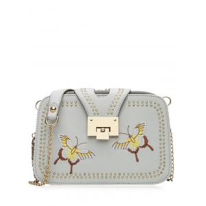 Embroidery Studded Chain Crossbody Bag