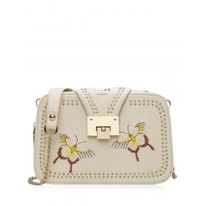 Embroidery Studded Chain Crossbody Bag - Palomino