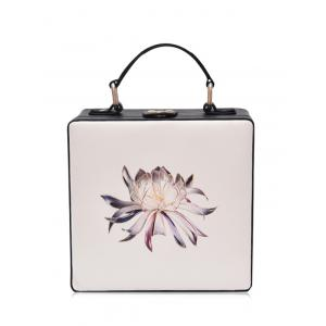 Box Shaped Floral Print Crossbody Bag - Off-white
