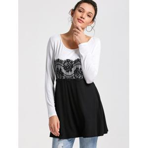 Lace Insert Long Sleeve Tunic Top -