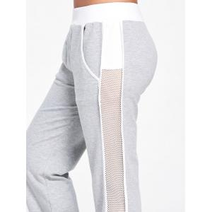 Openwork Insert Sport Ankle Banded Pants - LIGHT GRAY M