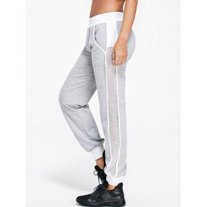Openwork Insert Sport Ankle Banded Pants - Light Gray - 2xl
