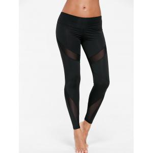 Mesh Insert Tight Gym Leggings - BLACK XL