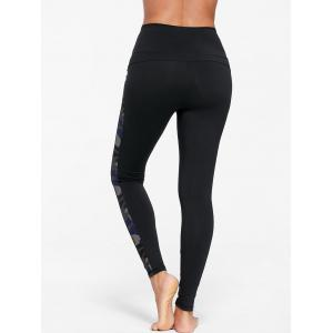 Camouflage Insert Skinny Athletic Leggings - Noir S