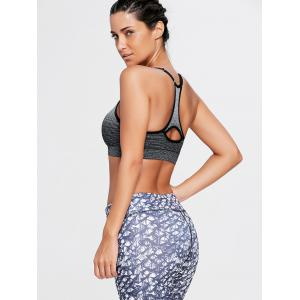 Ombre Adjustable Racerback Padded Sports Bra - BLACK L