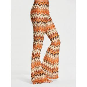 Melted Stripe Print Elastic Waist Flare Pants - Colormix - Xl