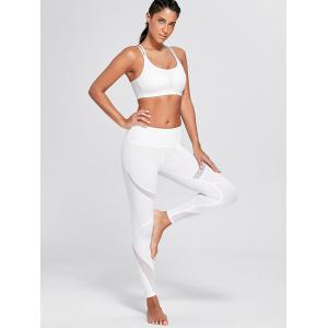 High Waisted Mesh Panel Workout Leggings - WHITE L