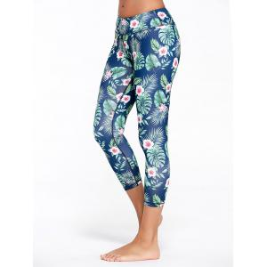 Tropical Floral Printed Capri Fitness Leggings