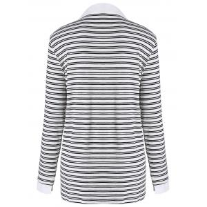 Plus Size Shirt Collar Striped Long Sleeve T-shirt - BLACK 4XL