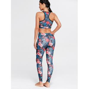 Racerback Bra Top and Floral Mesh Workout Tights - FLORAL M
