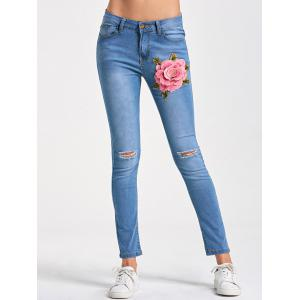 Skinny Embroidery Distressed Jeans - Light Blue - 2xl