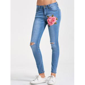 Skinny Embroidery Distressed Jeans - LIGHT BLUE 2XL