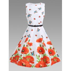 Sleeveless Floral A Line Vintage Dress