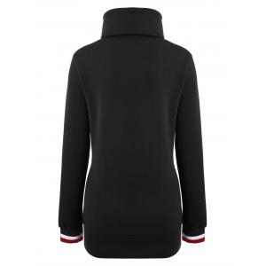 Mock Neck Pocket Drawstring Long Hoodie - Noir S