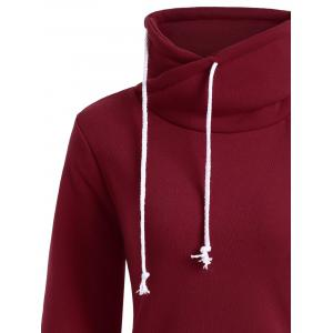 Mock Neck Pocket Drawstring Long Hoodie - Rouge XL