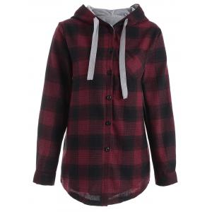 Button Up Pocket Plaid Plus Size Hoodie