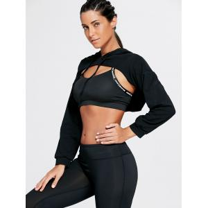 Open Front Sports Long Sleeve Cropped Hoodie -