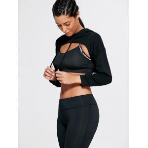 Open Front Sports Long Sleeve Cropped Hoodie - BLACK ONE SIZE