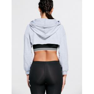Open Front Sports Long Sleeve Cropped Hoodie - GRAY ONE SIZE