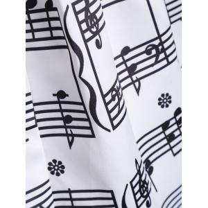 Music Notes High Waisted Midi Skirt - WHITE S