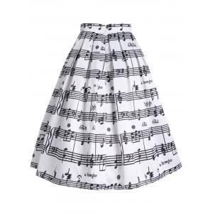 Notes musicales High Waisted Midi Skirt - Blanc 2XL