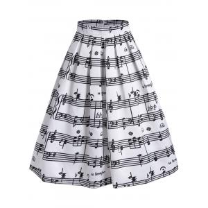Music Notes High Waisted Midi Skirt - White - 2xl