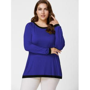 Back Slit Plus Size Tunic Tee - ROYAL XL