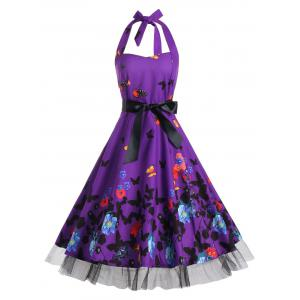 Vintage Butterfly Print Halter A Line Dress - Deep Purple - Xl