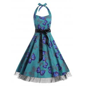 Vintage Butterfly Print Halter A Line Dress