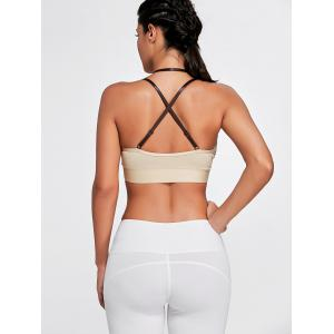 Cross Back Plunge Sports Strappy Bra - COMPLEXION M