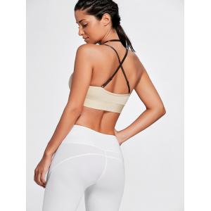 Cross Back Plunge Sports Strappy Bra - COMPLEXION S