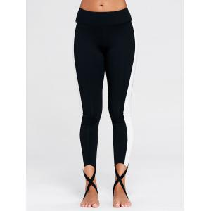 Sports Color Block Stirrup Leggings - BLACK M