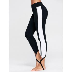 Sports Color Block Stirrup Leggings - Black - Xl
