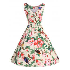 Floral Belted Vintage A Line Dress - Jaune S