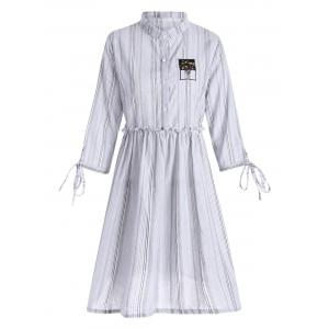 Plus Size Ruffle Vertical Striped Smock Shirt Dress - White - 4xl