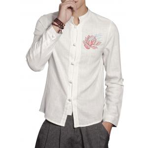 Mandarin Collar Cotton Linen Floral Embroidered Shirt