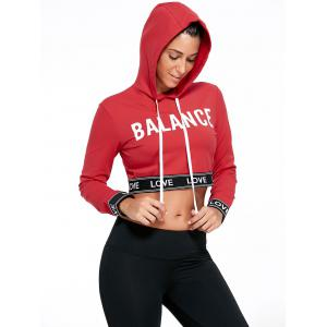 Balance Letter Graphic Sports Crop Hoodie - Red - L